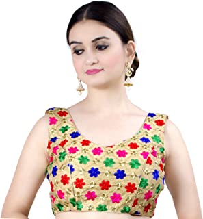Chandrakala Women's Party Wear Bollywood Readymade Indian Ethnic Saree Blouse Padded Resham Work Choli (B108)