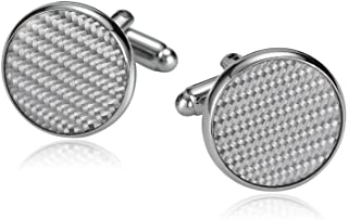 316L Stainless Steel Cufflinks for Men Round with Carbon Fiber Silver Men's Cuff Links