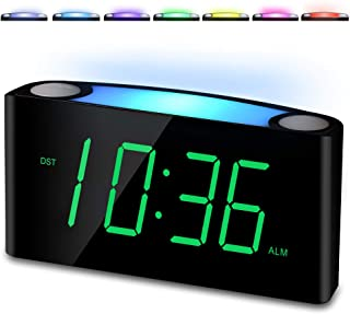 Digital Alarm Clock for Bedrooms, Large LED Display with Dimmer, 7 Color Night Light, USB..