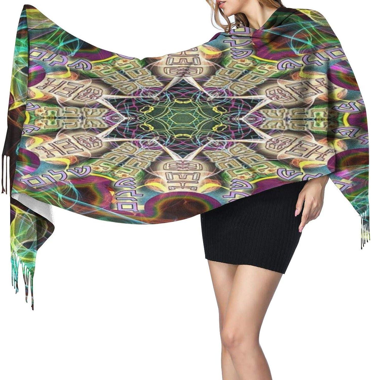 Cashmere fringed scarf Psychedelic Shabbat Shalom winter extra large scarf