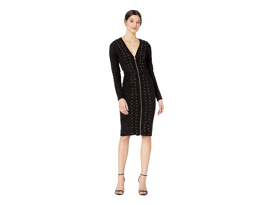 Bebe Lace-Up Suede Midi Dress (Jet Black) Women