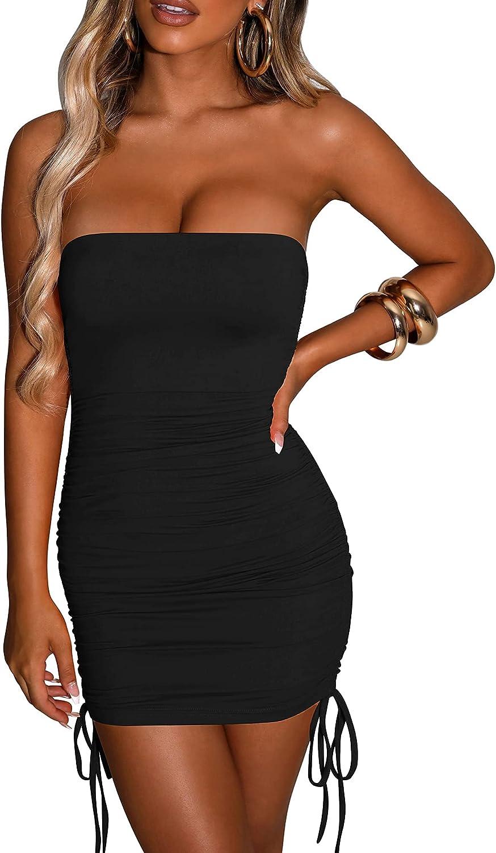 BORIFLORS Women's Sexy Strapless Bodycon Tube Top Ruched Sleeveless Drawstring Mini Club Party Dress