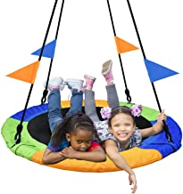 PACEARTH 40 Inch Saucer Tree Swing Flying 660lb Weight Capacity 2 Added Hanging Straps Adjustable Multi-Strand Ropes Color...