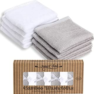 (25cm x 25cm , Grey/White) - SWEET CHILD Bamboo Baby Washcloths (Bonus 8-Pack) - Premium Extra Soft & Absorbent Towels For Baby's Sensitive Skin-Perfect 25cm x 25cm ReusableWipes-Great Baby Shower/Registry Gift (Grey/White, 25cm x 25cm )