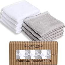 """SWEET CHILD Bamboo Baby Washcloths (Bonus 8-Pack) - Premium Extra Soft & Absorbent Towels for Baby's Sensitive Skin-Perfect 10""""x10"""" ReusableWipes-Great Baby Shower/Registry Gift (Grey/White, 10""""x10"""")"""