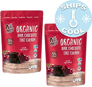 Nib Mor Organic Dark Chocolate Snacking Bites with 72% Cacao - Tart Cherries, 16 Ounce (2 Pack)