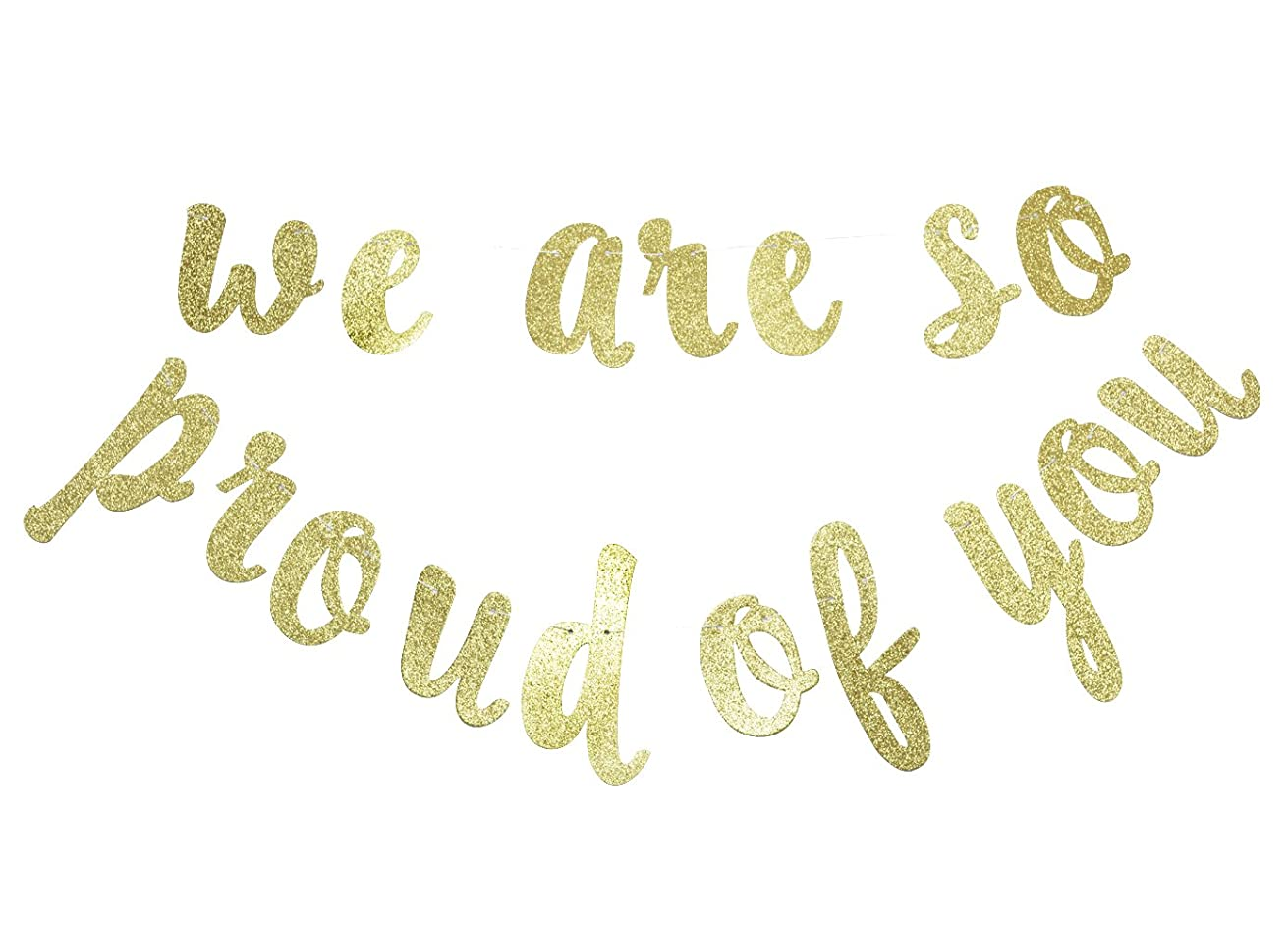 We are So Proud of You Gold Glitter Banner- Graduation Banner-Graduation/Grad Party Decorations
