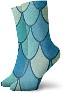 Overlapping Fish Scales Or Feathers Mens Athletic Crew Socks Basketball Cushioned Sport Long Compression Socks