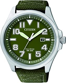 Citizen Eco-Drive Stainless Steel Nylon Strap Mens Watch AW1410-32X