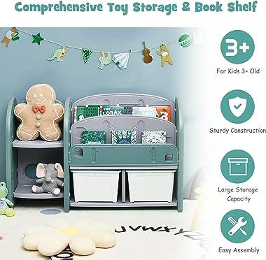 Costzon Kids Toy Storage Organizer, Toddler Bookshelf Cabinet w/ 2-Tier Bookshelf, 2 Shelves, 2 Removable Bins, Children Book