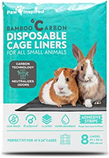 Paw Inspired Disposable Guinea Pig Cage Liners | Bamboo Charcoal Odor Controlling | Super Absorbent Liners Pee Pads for Fe...