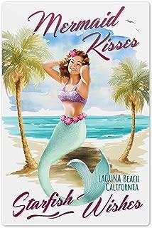 Laguna Beach, CA - Mermaid Kisses and Starfish Wishes - Watercolor 81751 (6x9 Aluminum Wall Sign, Wall Decor Ready to Hang)
