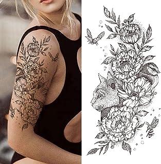 Tijdelijke Tatoeages 3 Vellen Realistische Nep Pioen Tijdelijke Tatoeages Voor Vrouwen Meisje Zwarte Roos Olifant Bloem Ta...