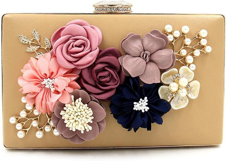 EPLAZA Womens Satin Flower Evening Clutch Bag Pearl Beaded Wedding Bridal Purse Prom Party Handbag