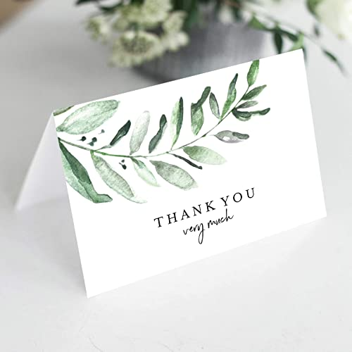 Bliss Collections Greenery Thank You Cards with Envelopes, Pack of 25, 4x6 Folded, Tented, Bulk, Perfect for: Wedding...