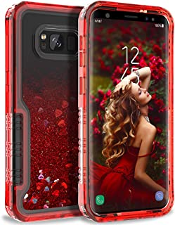Dexnor Compatible with Samsung Galaxy S8 Plus Case Floating Glitter Bling Moving Liquid Quicksand Hard Cover Clear Transparent Dual Layer Full Protection Bumper for Girls/Women - Red
