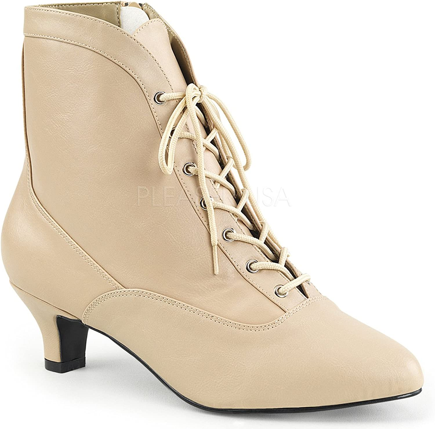 Pleaser Pink Label Fab-1005 Boots-Cream-10