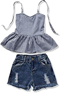YOUNGER TREE 2Pcs Fashion Toddler Kids Baby Girl Denim Shorts Sets Sleeveless T-Shirt Ripped Shorts Independent Day Outfits