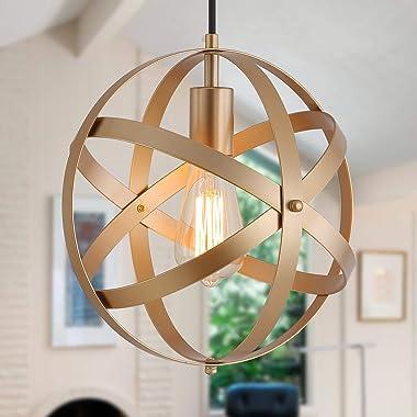 Q&S Industrial Metal Pendant Light ,Gold Spherical Cage Hanging Light,Farmhouse Chandelier Ceiling Light Fixtures for Kit