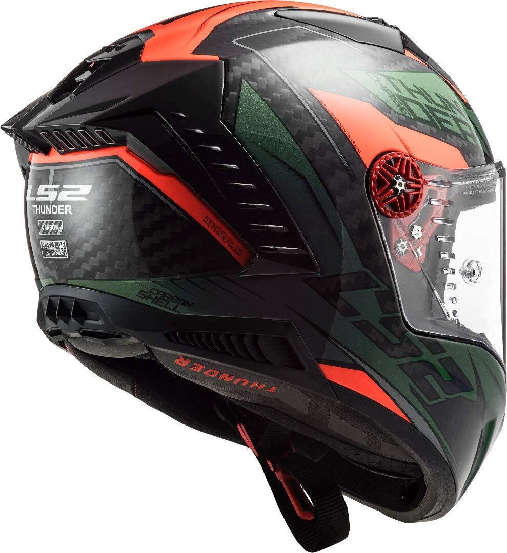 LS2 FF805 Thunder Chase Carbon Helm Gr/ün//Schwarz//Orange XS 53//54