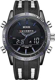 BINZI Sports Watch for Men, Waterproof Military Wrist Analog Digital Watches with Silicone Band