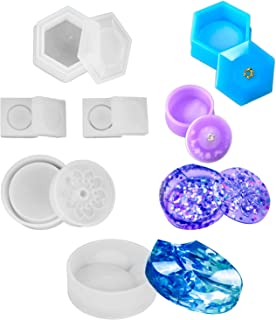 HOMEIDOL 5Pcs Jewelry Box Silicone Molds - Sakura Hexagon Resin Casting Molds,Medium Size Trinket Box Stash Box Molds with Lid and 2Pcs Cute Mini Clear Silicone Molds