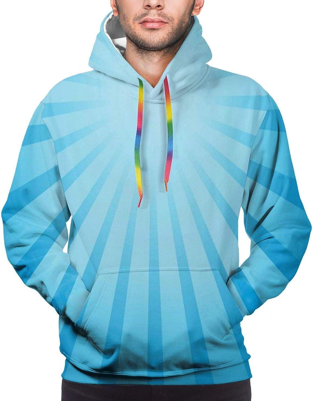 TENJONE Men's Hoodies Sweatshirts,Abstract Blue Cartoon Fishes Kissing with Bubble Like Heart Shapes Romantic