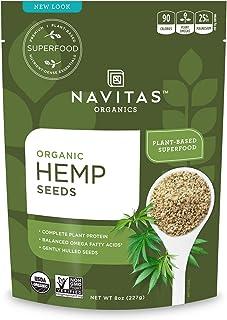 Navitas Organics Hemp Seeds, 8 Ounce. Bag, 15 Servings — Organic, Non-GMO, Low Temp-Hulled, Gluten-Free (NAV00014)