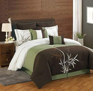 KingLinen 8 Piece Queen Bamboo Embroidered Comforter Set