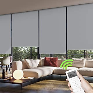 Yoolax Motorized Window Roller Shades Blinds Wireless Remote Control Blackout Fabric Shades for Home and Office Customized (Light Grey)