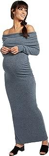 Women's Maternity Long Sleeve Off The Shoulder Hacci Maxi Dress