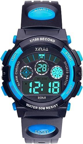 Reloj Digital para Niños,Niños Niñas 50M (5ATM) Impermeable 7 Colores LED Relojes Deportivos Multifuncionales para Ex...