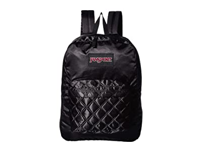 JanSport Super FX (Black Satin Diamond Quilting) Backpack Bags