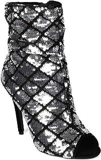 Alrisco Women Sequin Faux Velvet Open Toe Ruched Stiletto Heel Boot - IB43