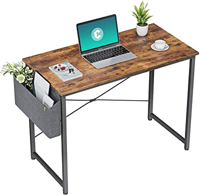 HOMIDEC Bureau d'ordinateur,Table d'étude,Table Informatique Petite Taille,Poste de Travail pour Bureau, Chambre,Assemblage Simple,Bureau de Travail avec Sac de Rangement et Crochet 80x60x75cm