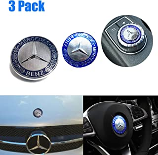 Mercedes Benz Logo Metal Flat Vehicle Hood Star Emblem Badge+ Steering Wheel Decal Sticker+Multimedia Control Decal Sticker for Mercedes Benz C E SL Class Decoration(Blue)