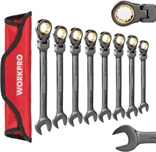 WORKPRO 8-piece Ratcheting Combination Wrench Set, Metric 9-17 mm, Flex Head, 72-Teeth, Nickel Plating with Organization Bag