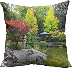 YouXianHome Home Decor Pillowcase Red Tree Near The Green Pond in Japanese Garden in Bonn,Germany Durable Polyester Fabric(Double-Sided Printing) 24x24 inch