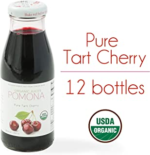 POMONA Pure Tart Cherry Juice, 8.4 Ounce Bottle (Pack of 12), Cold Pressed Organic Juice, Non-GMO, No Sugar Added, Not from Concentrate, Gluten Free, Kosher Certified, Preservative Free