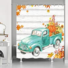 Thanksgiving Autumn Fall Maple Leaf Shower Curtains, Retro Teal Truck Car with Pumpkin Sunflower on Rustic Farm Wooden, Polyester Fabric Vintage Wood Shower Curtain, Bathroom Accessory Sets, 69X70in