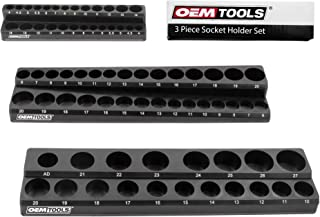 OEMTOOLS 22487 3 Piece Magnetic Socket Organizers, Holds 75 Metric Sockets, 1/4 Inch, 3/8 Inch, and 1/2 Inch Shallow and D...