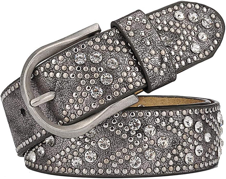 Women's Leather Belt Alloy Pin Buckle Metal Rivet Inlaid Rhinestone Retro Belt.