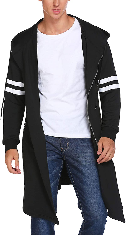 COOFANDY Men's Fashion Long Hooded Outwear Hoody Sweatshirt Teenager Hoodies Longline Cardigan