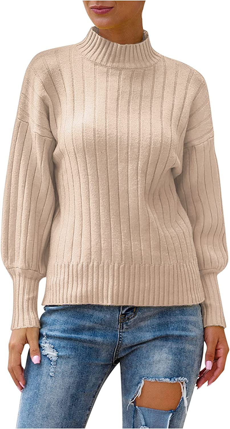 Knitted Sweaters for Inexpensive Women Turtleneck Top sleeve Lantern Rapid rise Pullove