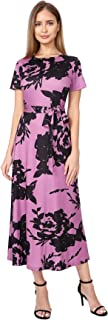 AIYIPIN Womens Round Neck Dress Floral Printed Long Maxi Dress with Belt