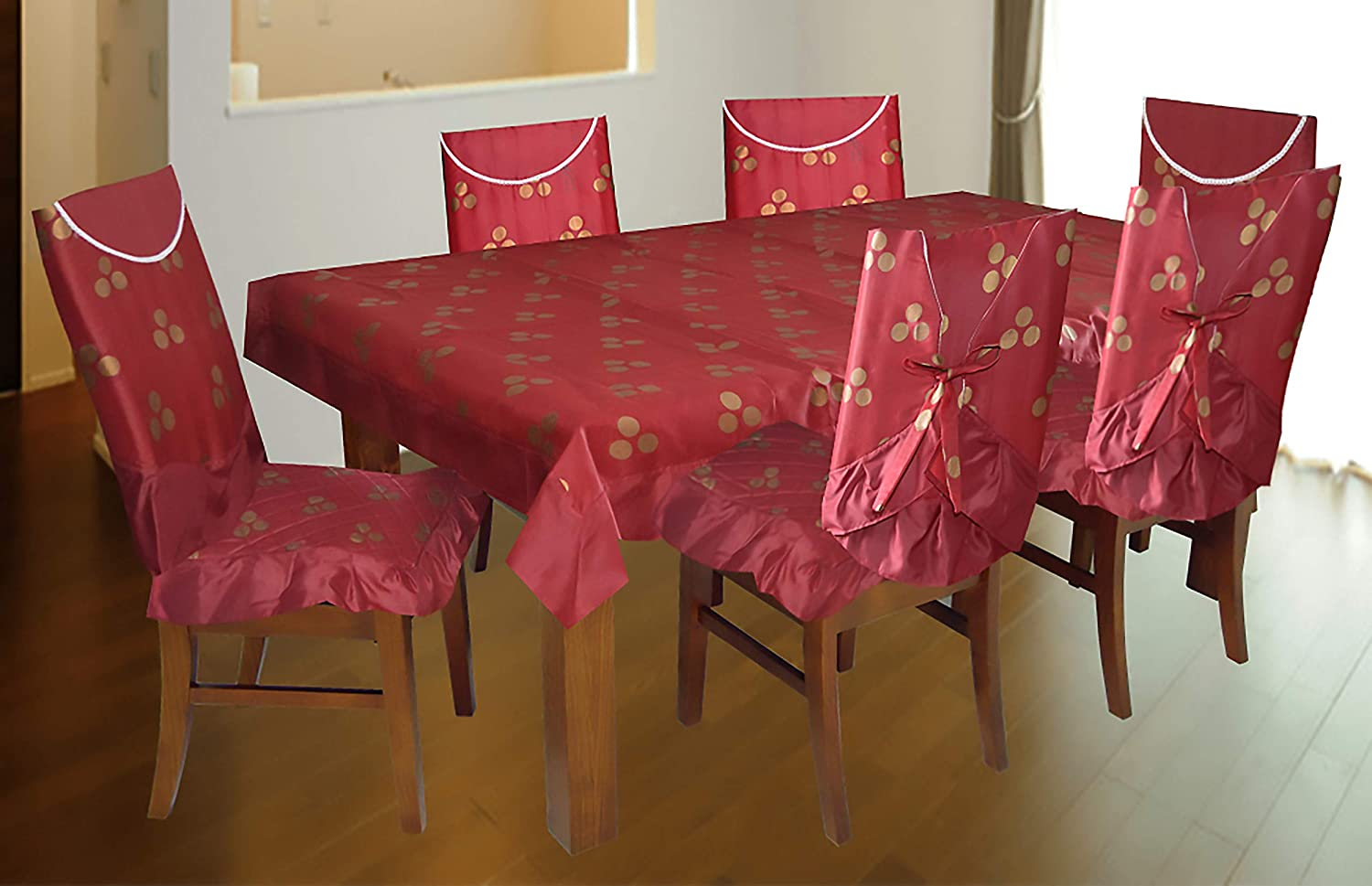 Design and Decor Cotton Polka Dots Dining Table Chair Covers   Set of 9 ,  9pcs/Set includes Table Cloth , 9 Chair backrest Cover , 9 Chair mats , ...