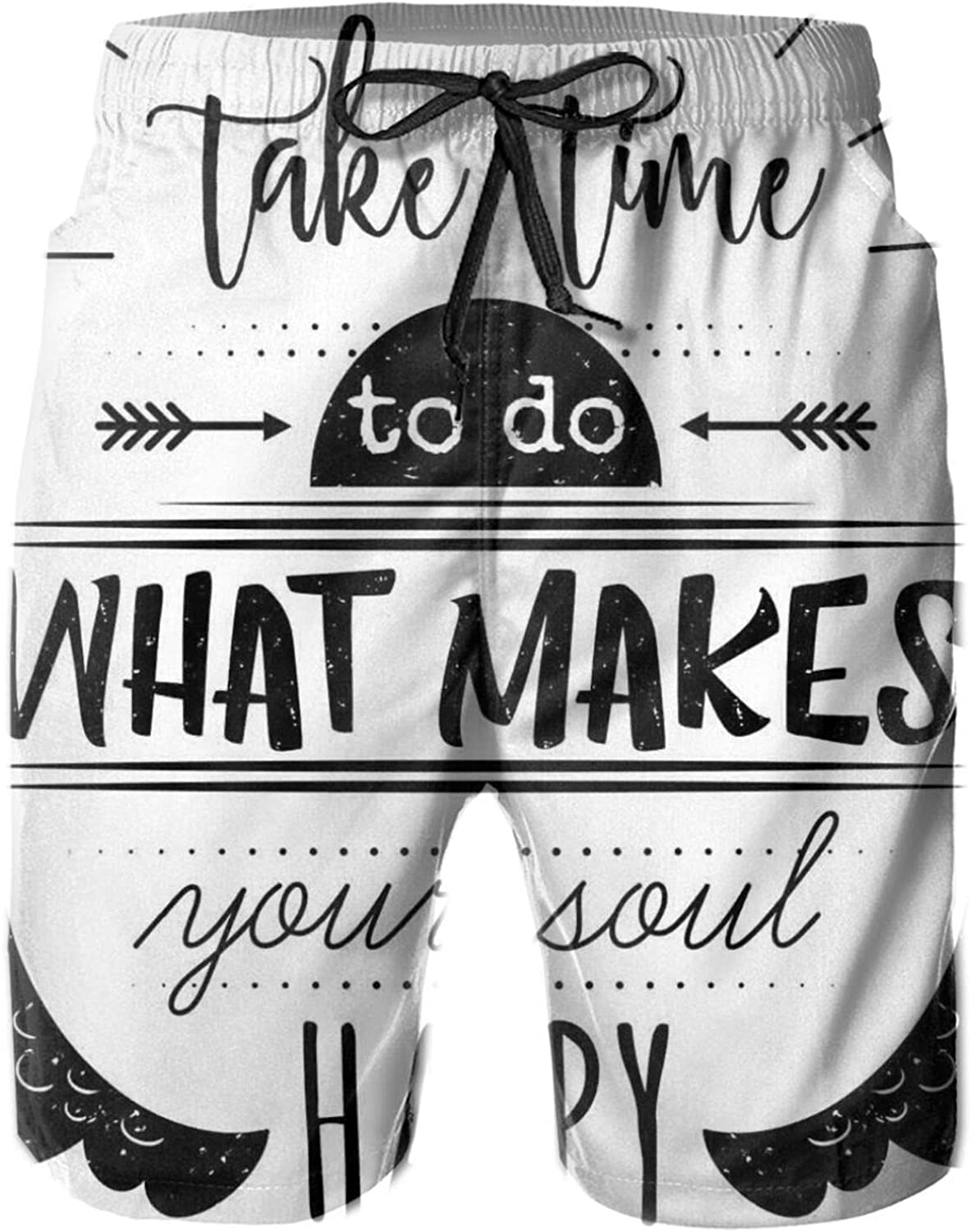Monochrome Do What Makes Your Soul Happy Quote with Ethnic Wing Arrow Motifs Drawstring Waist Beach Shorts for Men Swim Trucks Board Shorts with Mesh Lining,L