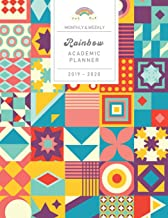 Monthly & Weekly Rainbow Academic Planner 2019 - 2020: Colorful Retro Style Cover / Mid-Year Diary with Gratitude Journal, Habit and Mood Tracker, ... Sections to Organize Your Days for Success