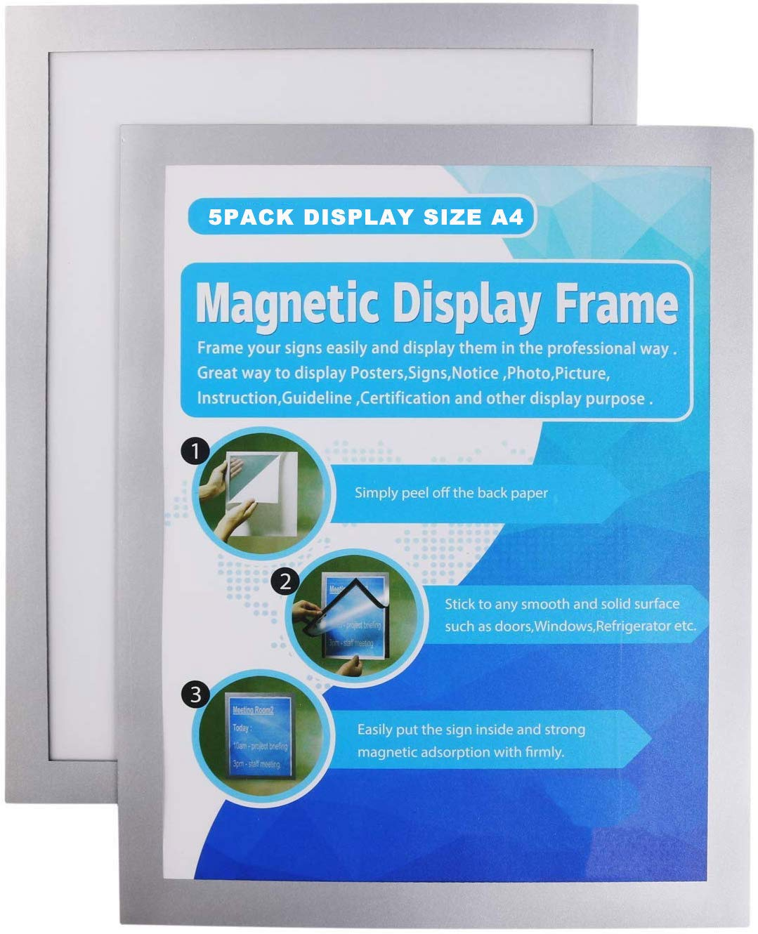 Announcements Silver Retail Photo Walls and Windows A4 Magnetic Frame with self-Adhesive Backing Display Frame for POS