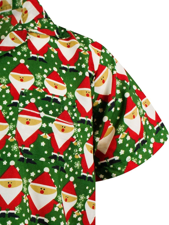 King Kameha Hawaiian Shirt for Men Funky Casual Button Down Shortsleeve Unisex X-Mas Candycane Christmas Santa Allover
